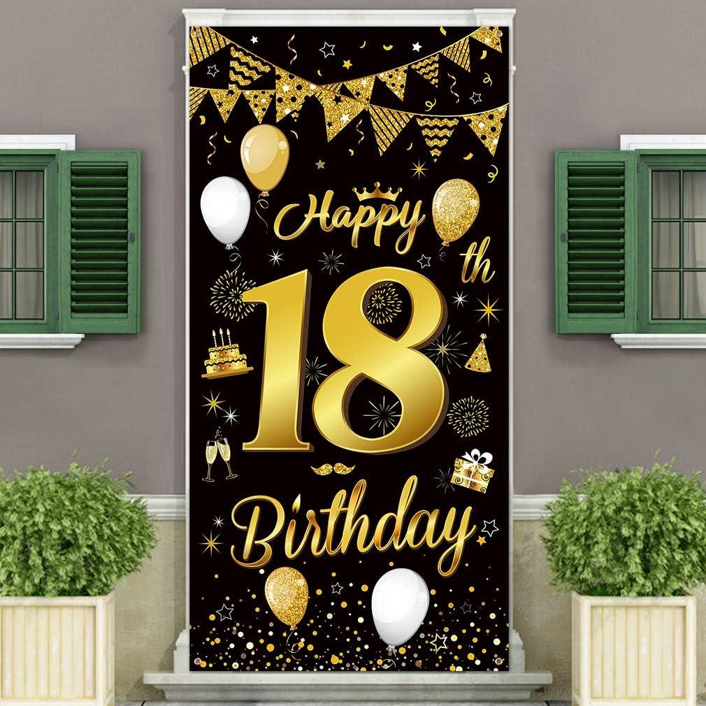 DUAIAI Happy 18th Birthday Party Decorative Door Cover Banner,La