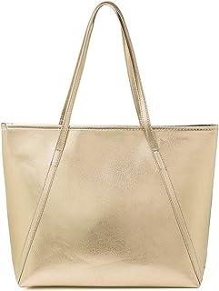 OURBAG PU Leder Handtasche Damen Gross, OURBAG Schultertasche Damen Handtasche Silber rosa metallic Shopper Champagnerfarbe