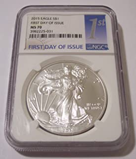 2015 silver eagle ms70 first day of issue
