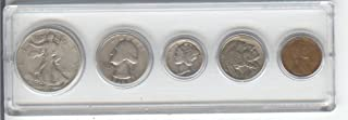 1936 BIRTH YEAR COIN SET-5 COINS- HALF DOLLAR, QUARTER, DIME, NICKEL, AND CENT- ALL DATED 1936 AND ENCASED IN A PLASTIC DISPLAY HOLDER -NOTE- THESE COINS WILL BE AS GOOD OR BETTER THEN THE PICTURE- NOTHING LESS