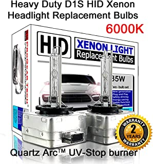 Heavy Duty D1S D1R HID Xenon Headlight Replacement Bulbs 35W High Low Beam (Pack of 2) (6000K Daylight White)