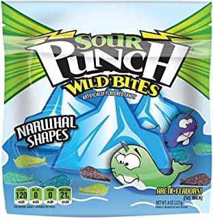 Sour Punch Bites, Chewy Sour Candy, Wild Narwhal Shapes, 4 Assorted NEW Flavors, 8oz Bag, 12 Count