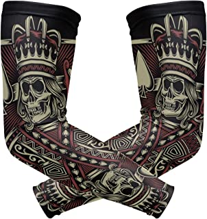Skull Playing Card Arm Sleeves UV Protection Tattoo Elastic Stretch Long Arm Cover Sleeves