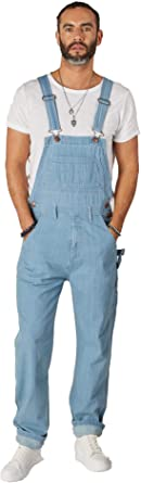 Wash Clothing Company Relaxed Fit Dungarees Palewash - Denim Bib Overalls 30-44W MADDOXPALE