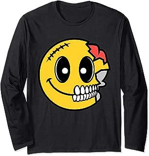 Cute Scary Halloween Smiley Skull Costume Emojis Gift Long Sleeve T-Shirt