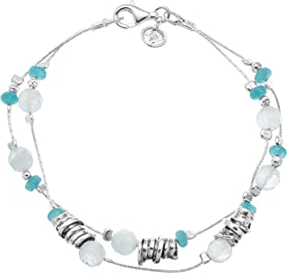 Seaside' Natural Jade & 8 ct Milky Aquamarine Beaded Double-Strand Bracelet in Sterling Silver
