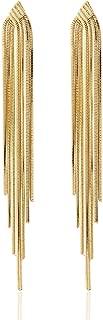 Long Drop Sleek Chain Tassel Earrings by Lovey Lovey