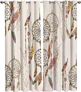 Edwiinsa Mandala Kitchen Blackout Curtains Window Drapes Treatment, 2 Panels Set for Kitchen Cafe Office, Native American Dreamcatcher Magic Feathers Hippie Silhouette, 80W x 84L inch