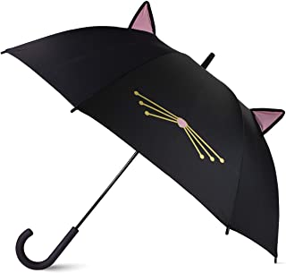 Kate Spade New York Large Lightweight Travel Umbrella, Black Cat