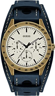 Guess gents trend Mens Analog Quartz Watch with Leather bracelet W1100G2