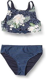 Roxy Girls' Heaven Wave Crop Top Two Piece Swimsuit, Mood Indigo ANIMALIA S