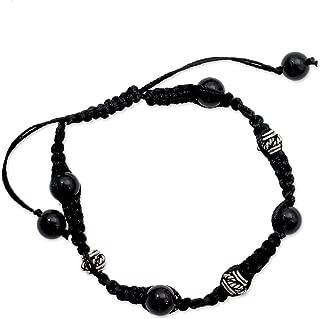 NOVICA Adjustable Length Macrame Shamballa Bracelet with Sterling Silver and Onyx 'Prayer for Peace'