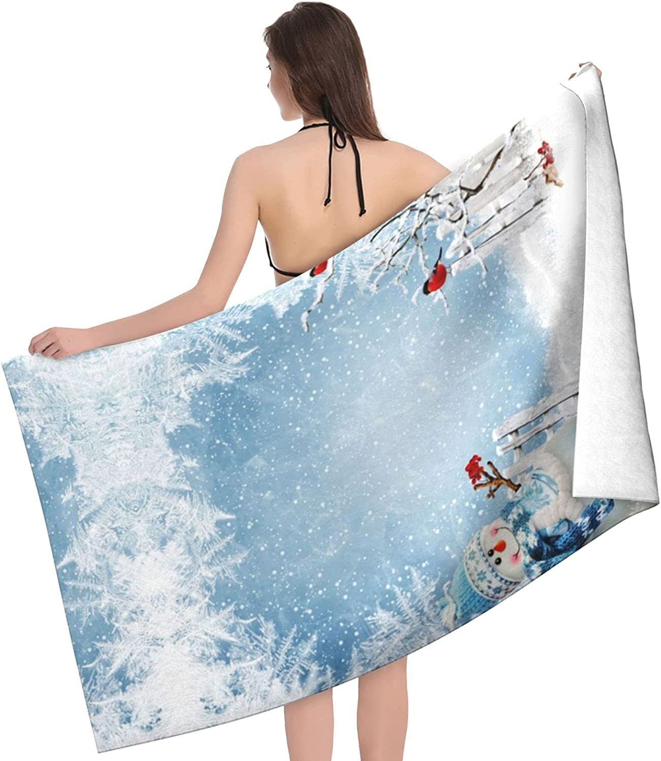 Christmas Snowman Print Adult Beach Regular discount Towels Los Angeles Mall - Towel Double