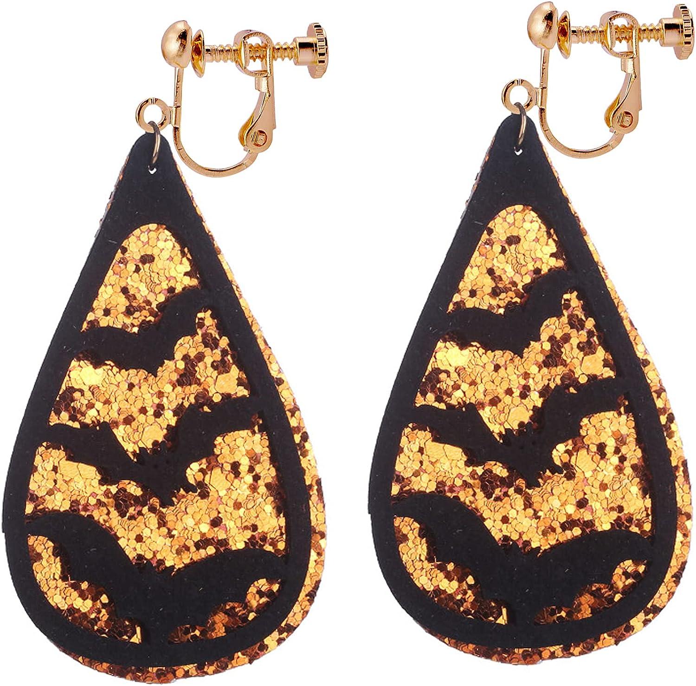 Halloween Earrings Clip on no Pierced Bat Drop Dangle Earring Fashion Jewelry for Women Girls