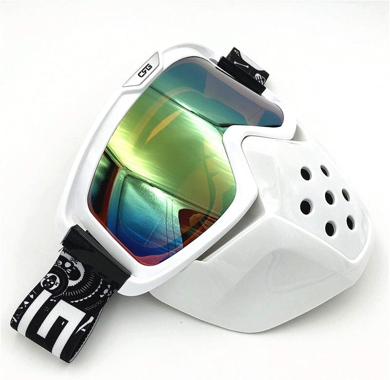 Gafas Moto,Moto Gafas Mascarilla de la motocicleta Gafas de gafas retro Cara abierta Motocross Casco Gafas desmontable Boca Filtro Mascarilla Afile Gafas Motocross (Color : CRG01 W Green)