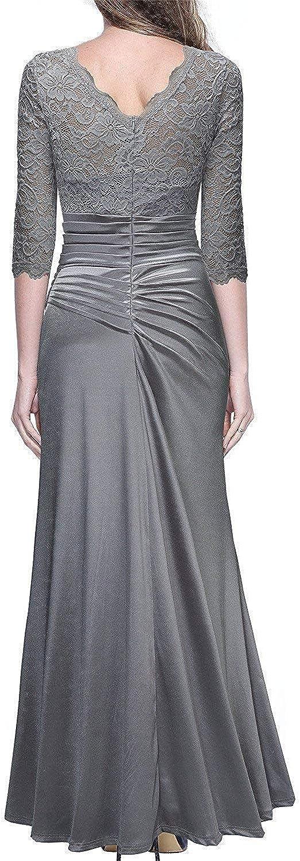 Joyhul Women's Retro Floral Lace Vintage 2 3 Sleeve Slim Ruched Wedding Maxi Dress