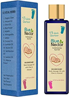 Blue Nectar Ayurvedic Baby Massage Oil with Organic Ghee, Almond Oil and Vitamin E for Healthy Babies (6.76 fl oz)