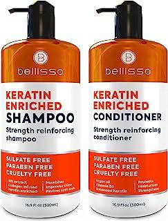 ست شامپو و نرم کننده کراتین - درمان عمیق بدون سولفات با روغن آرگان مراکشی - ضد موخوره برای موهای خشک و درخشش اضافی