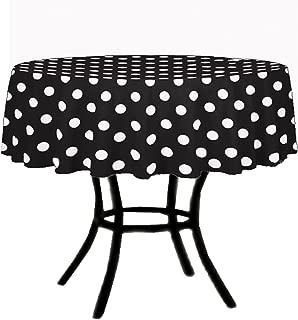 KS LINENS Black and White Polka Dot Round Tablecloth 45