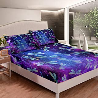 Feelyou Dragonfly Fitted Sheet s Animal Pattern Bedding Set for Boys Girls Children Purple Blue Galaxy Bed Sheet Set Ornam...