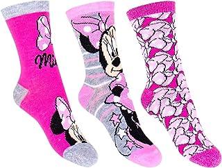 Disney, Juego de calcetines oficiales de Disney Mickey y Minnie Mouse con licencia para niños y niñas, paquete de 3, 70% algodón, tamaños de 6 niños