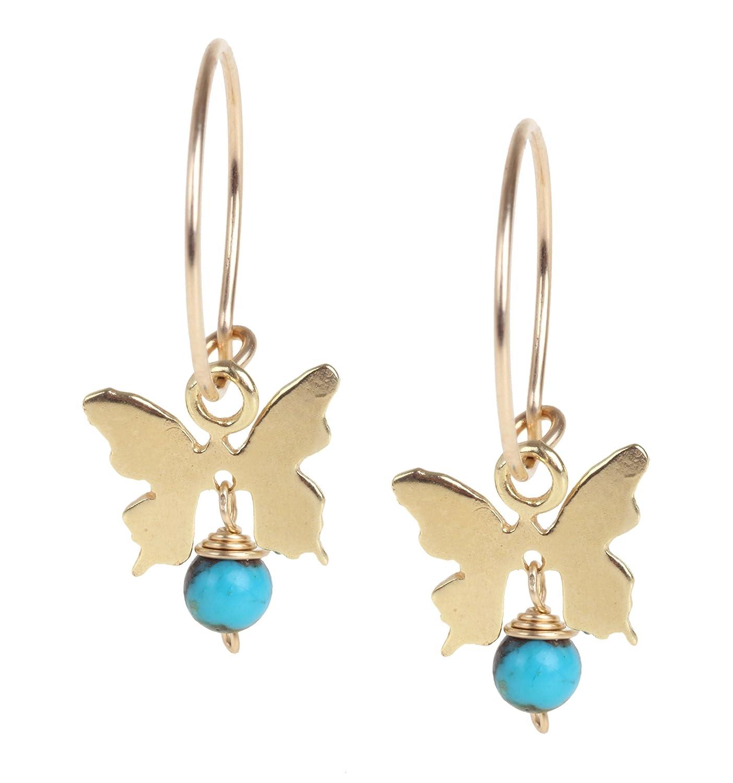 Handmade Butterfly Hoop Dangle sale Superior Earrings Silver or Gold Sterling