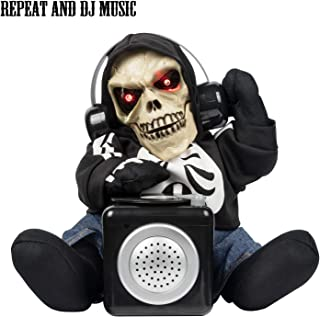 ITART Halloween DJ Skeleton Toy for Kids Teens Repeats The Words with DJ Scratch Animated Party Supply
