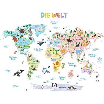 Wandtattoo Kinderzimmer Xxl Weltkarte Junge Madchen Tiere Wandaufkleber Wandsticker Babyzimmer Welt Deko Poster Bilder Erde Globus Aufkleber World Map Landkarte Amazon De Baby