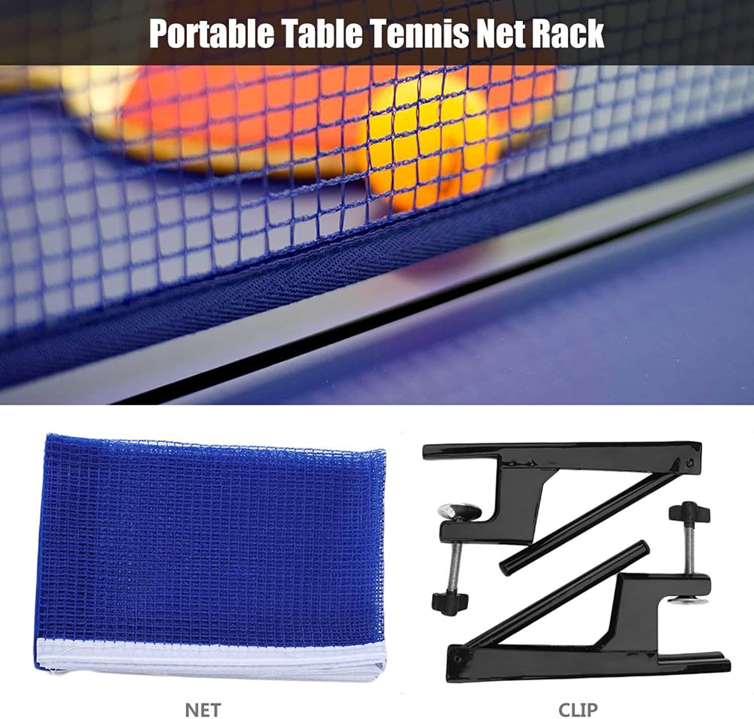 VBestelife Premium Ping Pong Table Tennis Catcher Net  Portable Ball Catch Netting with Metal Clamp Posts Ping Pong Net Set Accessory for Indoor Outdoor