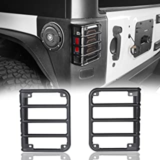 Hooke Road Matte Black Light Guards for Rear Taillights (Tail Light) Covers fit 2007-2018 Jeep Wrangler JK - Pair