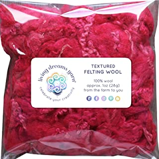 TEXTURED FELTING WOOL. Corriedale Fiber includes CURLY LOCKS for Needle Felting, Spinning, Doll Hair and Waldorf Crafts - Magenta