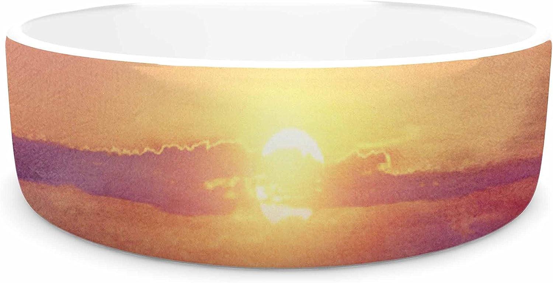 KESS InHouse Viviana Gonzalez Calling The Sun IV  Pink Yellow Pet Bowl, 7