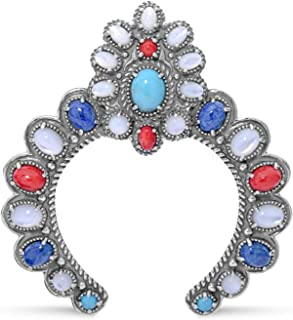 American West Sterling Silver Blue Lapis, Turquoise, White Mother of Pearl and Red Coral Gemstone Naja Pendant Enhancer