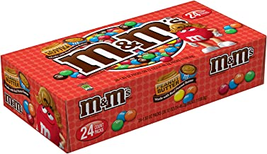 M&M'S Peanut Butter Chocolate Candy,  Singles Size,  1.63 Ounce, Pack of 24