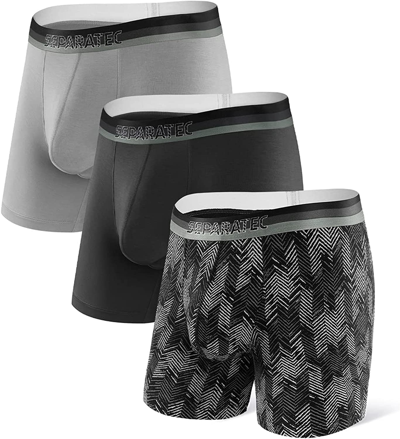 Separatec Men's Underwear 3 Pack Basic Bamboo Rayon Soft Breathable Dual Pouch Boxer Briefs