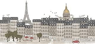 Paris France Eiffel Tower Skyline Artistic Drawing Seamless Banner Cubicle Locker Mini Art Poster 12x8
