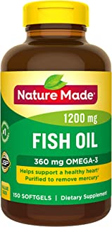 Nature Made Fish Oil 1200 mg Softgels, 150 Count Value Size for Heart Health† (Packaging May Vary)