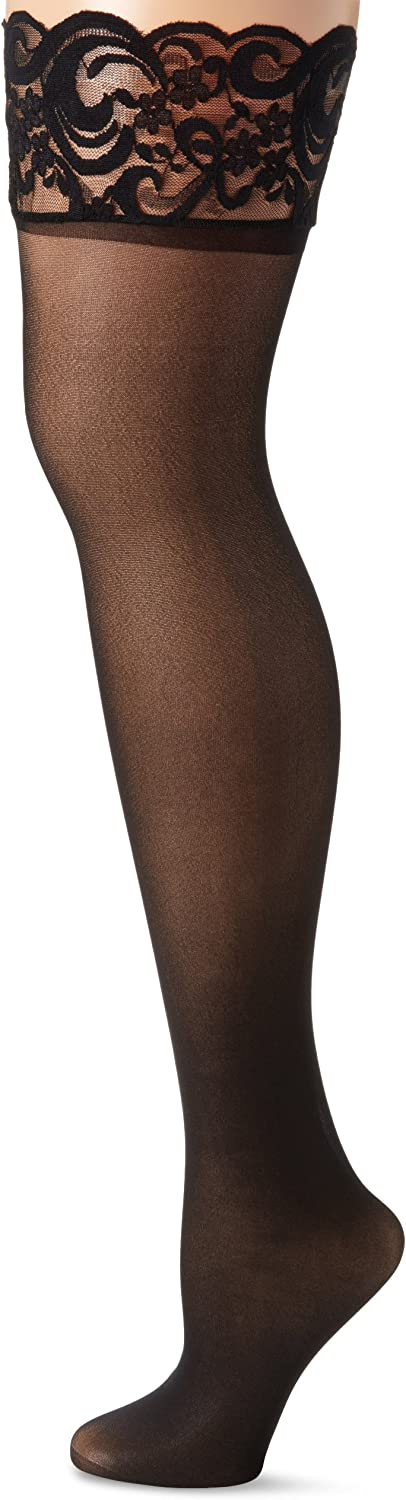 MUSIC LEGS Women's 2 Pack Sheer Thigh Hi with Silicone Lace Top Plus Size
