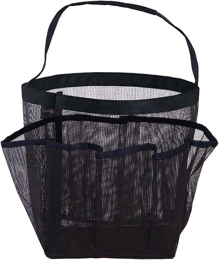 Noir Sac de Douche avec 8 Poches Laterale Poche de Rangement en Tissu Oxford Accessoires de Bain et Organisateur de Salle de Bain en Grille