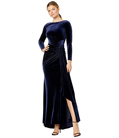 Vince Camuto Long Sleeve Gown w/ Drape Front (Navy) Women