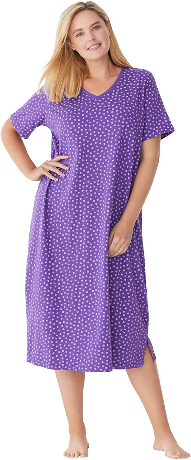 Womens Plus Size Long Print Sleepshirt Nightgown Dreams /& Co