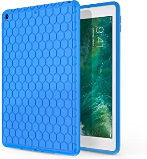 MoKo Fit 2018/2017 iPad 9.7 6th/5th Generation - [Honey Comb Series] Light Weight Shock Proof Soft Silicone Back Cover [Kids Friendly] Fit Apple iPad 9.7 Inch 2018/2017, Blue