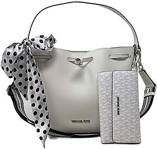 MICHAEL KORS 2pc Medium Eden Bucket Drawstring Shoulder Bag Handbag Bundled with Trifold Wallet Bright White Removable Scarf