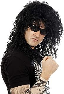 80s Rocker Wig Black Rockstar Men Costume Wigs Heavy Metal Big Hair Band Mens Rock Star Costumes
