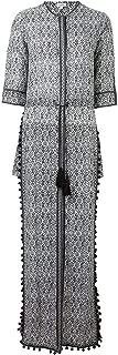 Talitha Women's Black White Silk Tassel Maxi Dress XS/P