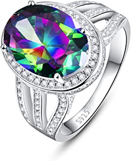 925 Sterling Silver Engagement Ring with 10x14mm Oval Cut Created Mystic Rainbow Topaz White Cubic Zirconia cz Promise Rings for her