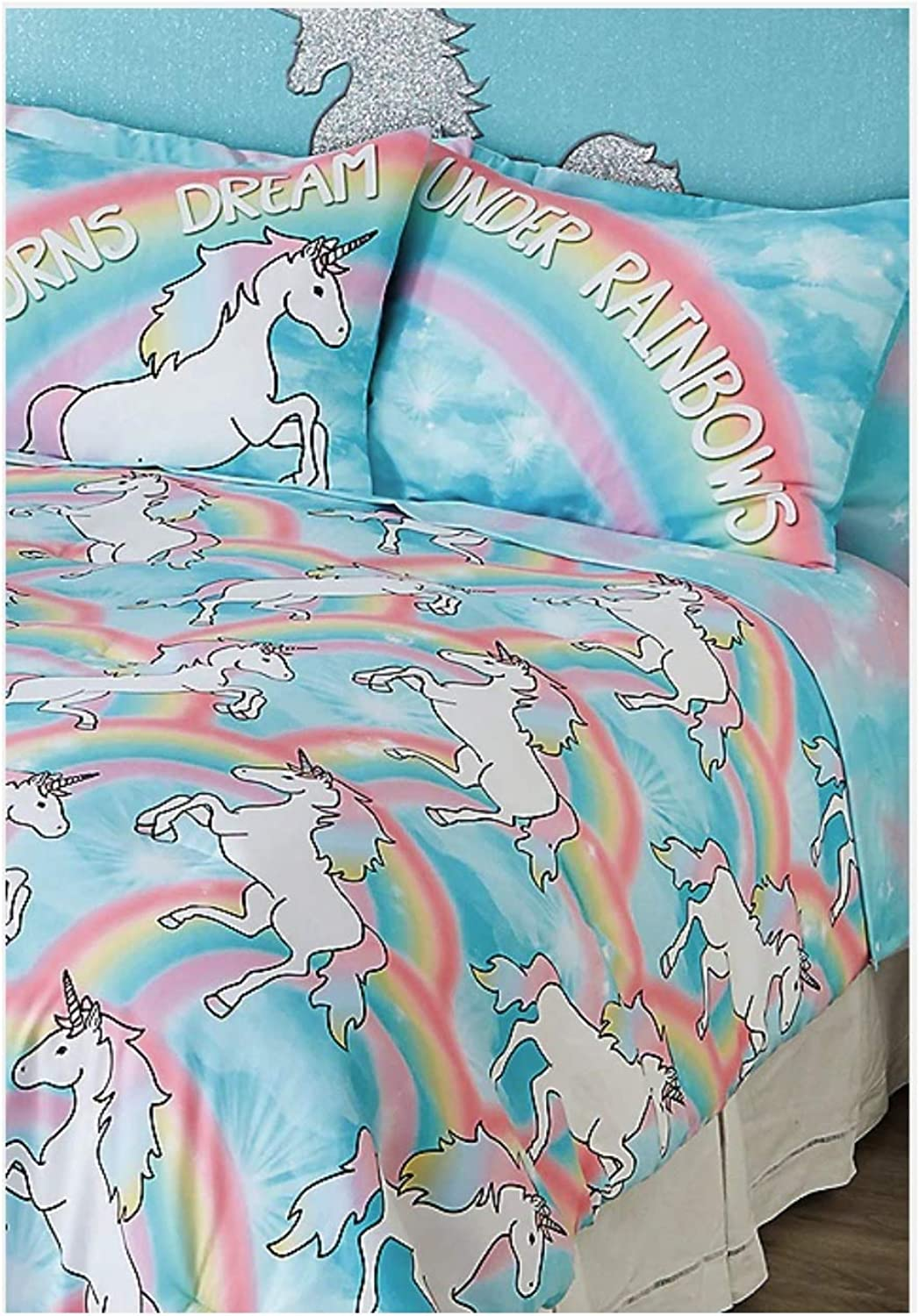 Justice Unicorn 7-Piece Bed in a Bag Queen Size Comforter Set
