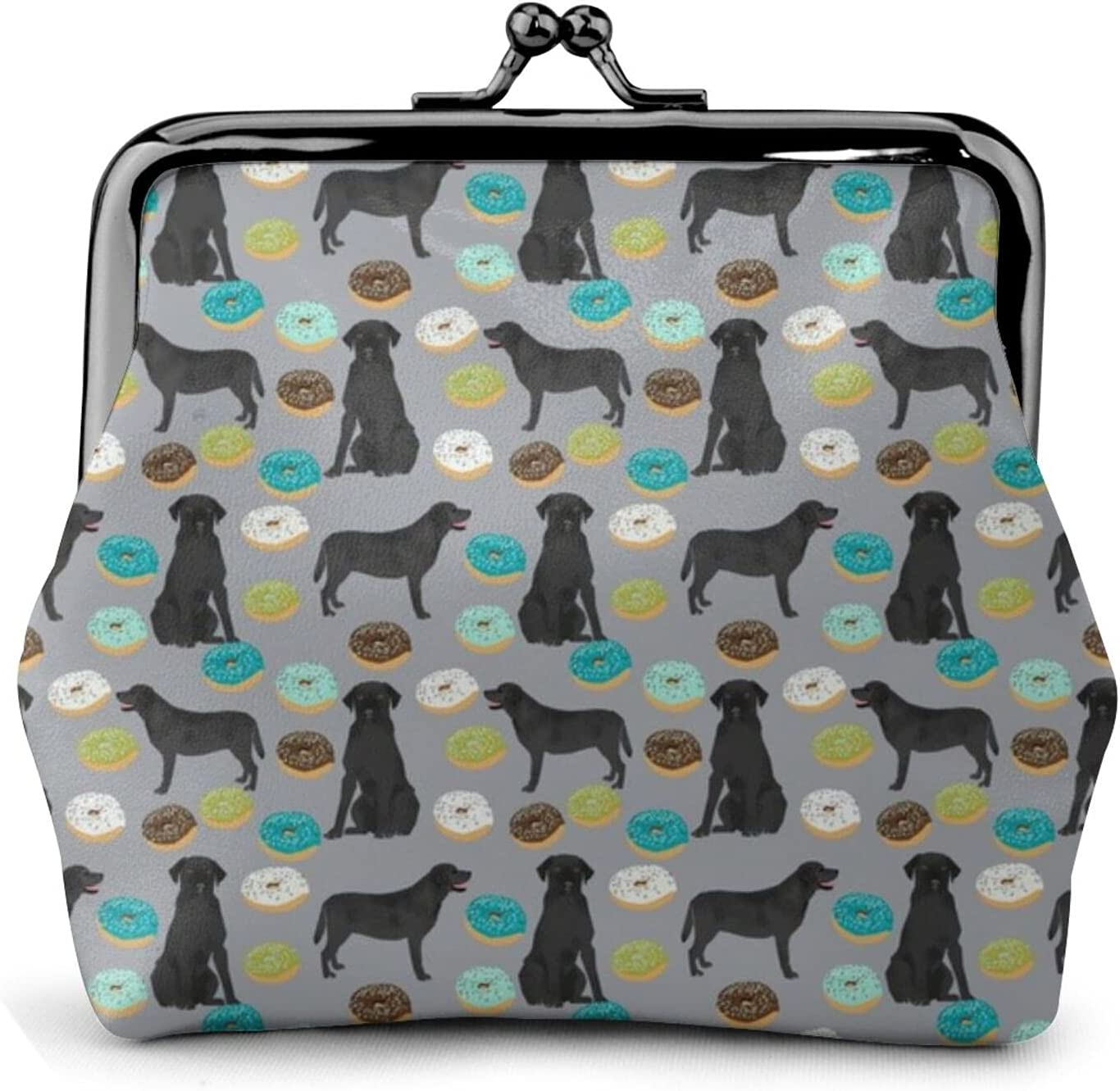Black Labrador Donuts 610 Coin Purse Retro Money Pouch with Kiss-lock Buckle Small Wallet for Women and Girls