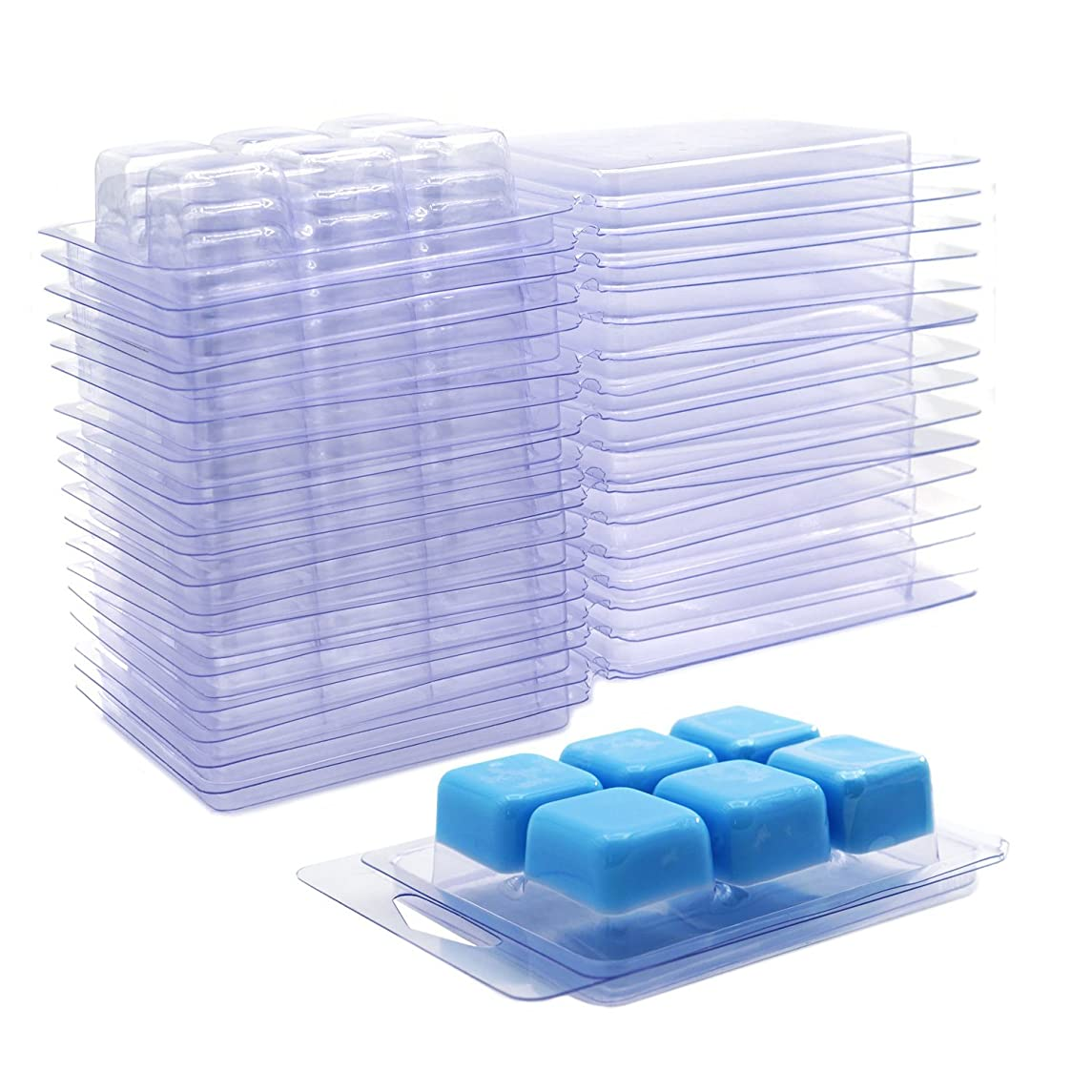 DGQ Wax Melt Molds - 25 Packs Clear Empty Plastic Wax Melt Clamshells for Wickless Wax Melt Candles