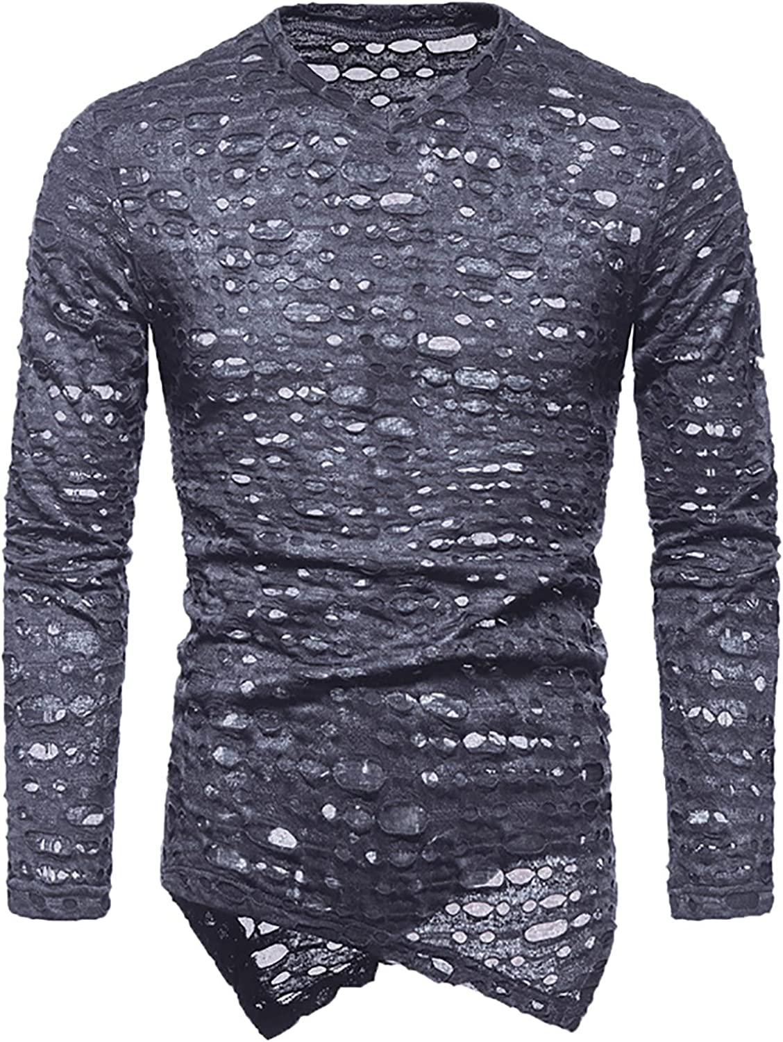 Mens Shirts Long Sleeve V-neck Solid High material Challenge the lowest price of Japan ☆ Blouse Hollow Pull Hole Out